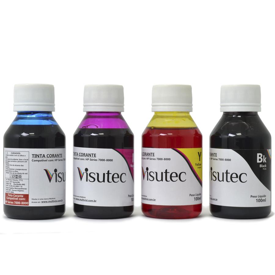 Kit 400ml de tinta corante HP 8000, 8100, 8500 e 8600