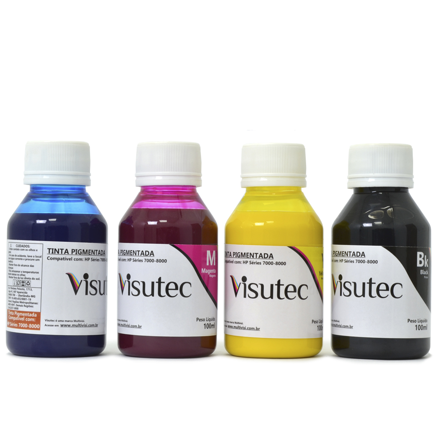 Kit 400ml Tinta Pigmentada HP8000, 8500, 8600, 8610, 7110, X451 e X476