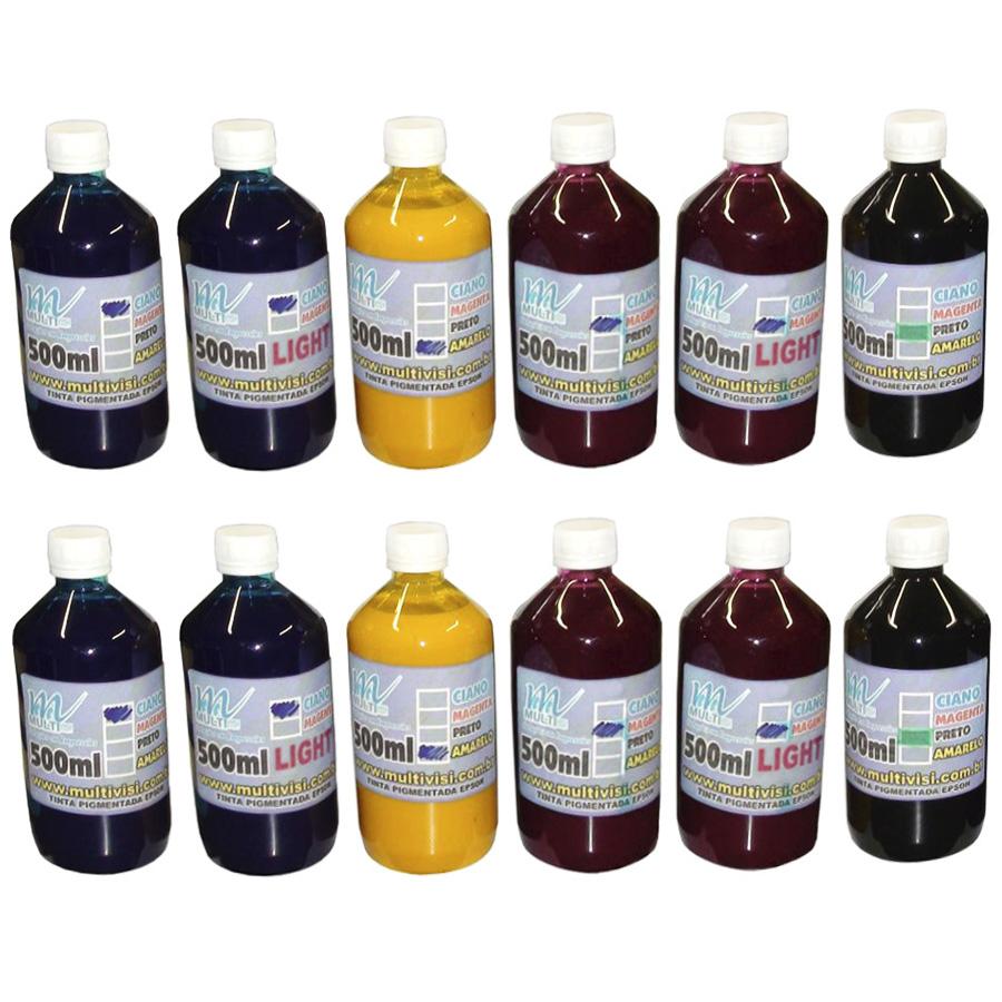 Kit 6L de Tinta Pigmentada para Epson e Brother (1L de cada cor)
