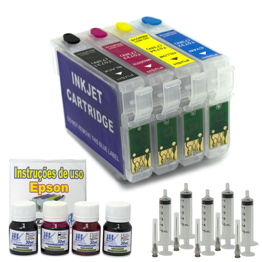 Kit Cartuchos Recarreg�veis T40W e TX550 + 120 ml de Tinta Corante