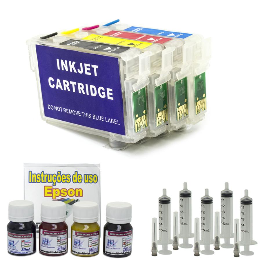 Kit Recarregável 120ml de Tinta Sublimática para Epson  (TX200, TX210, TX220, TX400, TX410  e TX300F)