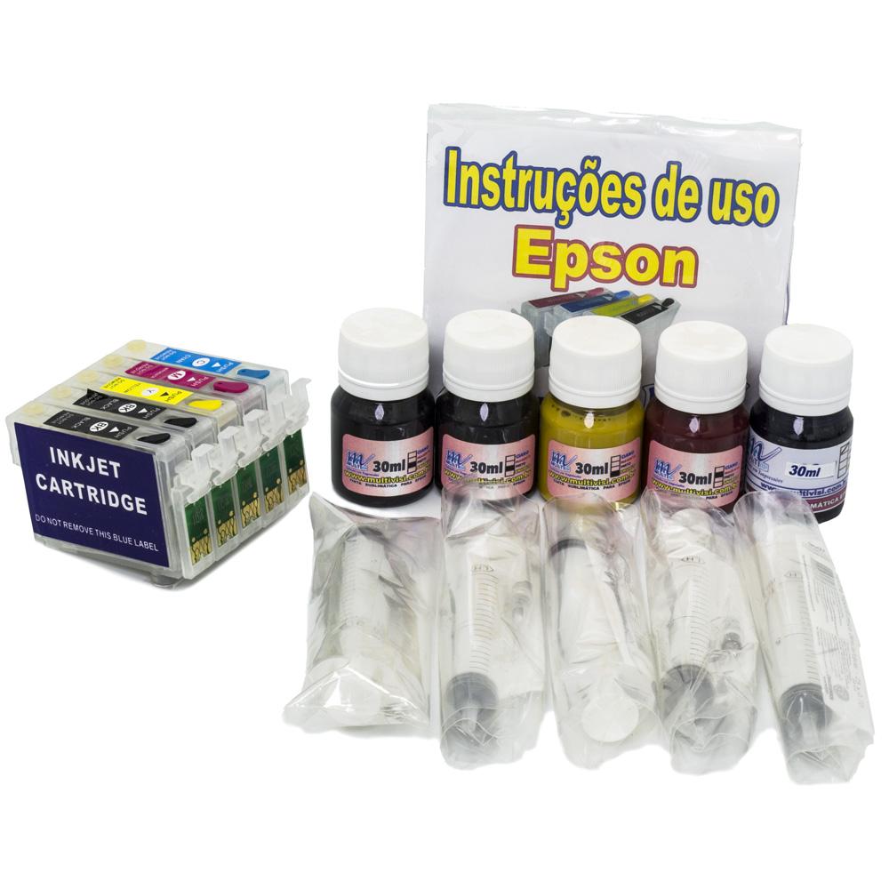 Kit Recarregável para Epson T33 + 150ml de Tinta Sublimática