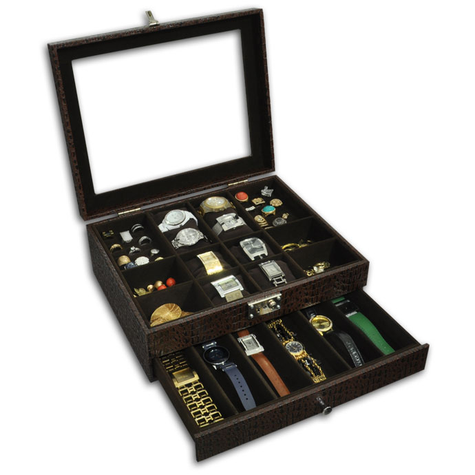 6f51b465adb Expositor duplo para relógios e peças diversas - Estojoias Embalagens para  Joias ...