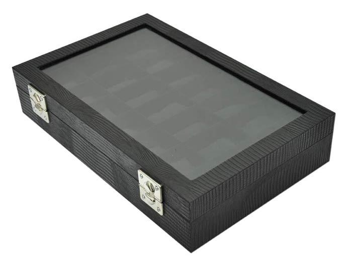 84f5dd7774d Estojo   Porta relógios para 21 relógios com expositor em vidro