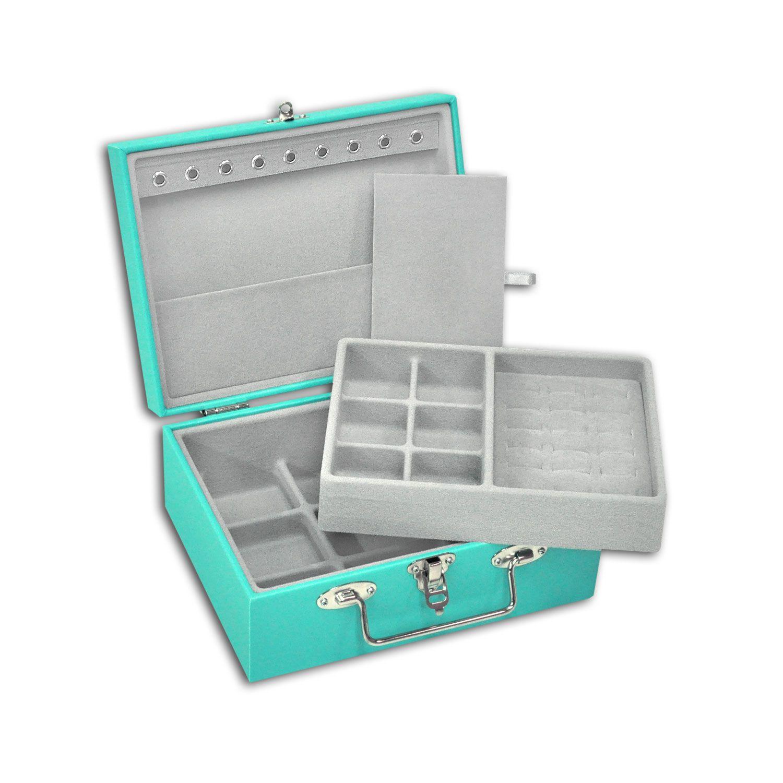Maleta / Porta Joias Pequeno Duplo - Tiffany Blue / Cinza