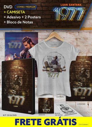Pr�-Venda Combo Premium Luan Santana 1977 DVD + Camiseta + 2 P�steres + Adesivo + Bloco GR�TIS