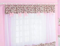 Cortina 1,50 Metro - Coleção My Princess - Tecido 100% Algodão - Rosa
