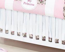 Babado Para Berço 03 Lados - Coleção My Princess - 100% Algodão - Rosa