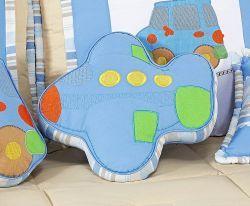 Almofada Decorativa Avião - Coleção Aventura - 100% Algodão - Siliconado - Azul