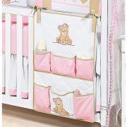 Porta Objetos para Ber�o de Beb� - Cole��o Ursa no Campo - Rosa - Paulo Cezar Enxovais