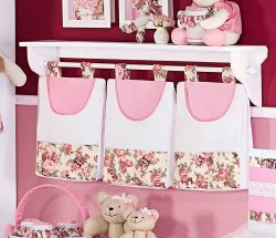 Porta Fraldas de Varão 03 Peças - Coleção Princess - Rosa