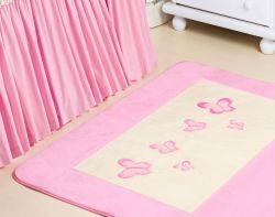 Tapete Pelúcia Antiderrapante - Coleção Florence Baby - Palha c/ Rosa - 1,20m x 76cm