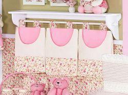 Porta Fraldas de Varão 03 Peças - Coleção Florence Baby - Palha c/ Rosa