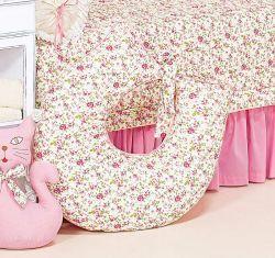 Apoio para Amamentar - Coleção Florence Baby - 100% Algodão - Siliconado - Palha c/ Rosa