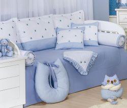 Kit Cama Babá 08 Peças - Coleção Luxo - 100% Algodão 180 Fios - Bordado - Azul