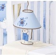 Kit de Acess�rios 05 Pe�as - Cole��o Little Bears - Abajur, Cesta e Conjunto de Potes - Azul - Paulo Cezar Enxovais