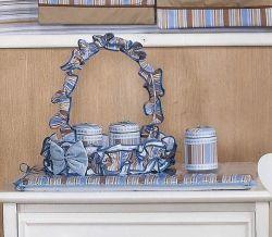 Conjunto de 03 Potes Enfeitados - Coleção Baby Kids - Azul