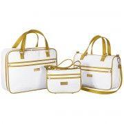 Conjunto de Bolsas Maternidade Cole��o Imperial 03 Pe�as - Branco / Dourado - Paulo Cezar Enxovais