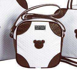 Frasqueira Térmica Coleção Colonial Urso 23cm x 23cm x 12cm - Branco / Chocolate