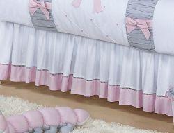 Babado Para Berço 02 Lados - Coleção Princesa Kids - 100% Algodão 180 Fios - Rosa