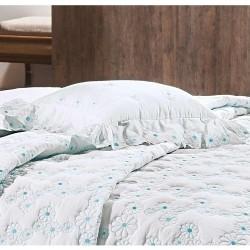Almofada Decorativa Nuance 01 Peça Bordado 100% Algodão Percal 200 Fios - Branco/Azul