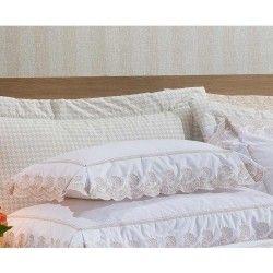 Almofada Decorativa Amêndoa 01 Peça Bordado 100% Algodão Percal 200 Fios - Caqui
