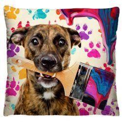 Capa para Almofada Estampada Tecido Microfibra - Cachorro Pintor A244