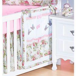 Porta Objetos para Berço de Bebê - Coleção Garden Flowers Rosa
