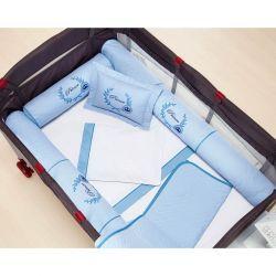 Kit para Berço Desmontável (Cercadinho) 8 Peças com jogo de Lençol 100% Algodão - Azul