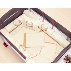 Kit para Berço Desmontável (Cercadinho) 8 Peças com jogo de Lençol 100% Algodão - Palha c/ Rosa