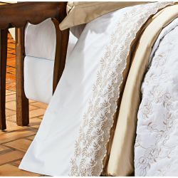 Jogo de Lençol Casal King Chiesa 4 Peças  100% Algodão 400 Fios - Branco/Dourado
