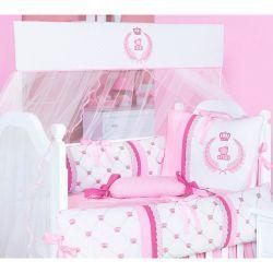 Kit Berço 09 Peças Coleção Classic Rosa 100% Algodão