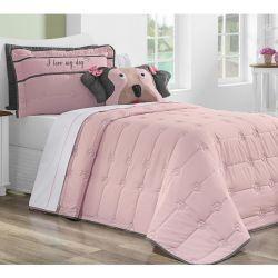 Cobre Leito Solteiro My Dog 03 Peças Tecido Microfibra - Rosa