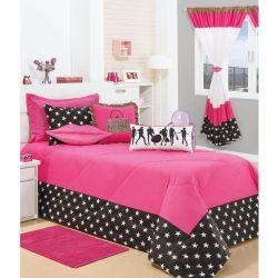 Cobre Leito Solteiro Fashion 05 Peças Com Almofadas - Pink