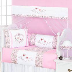 Kit Berço 09 Peças Americano com Mosquiteiro Bordado Coleção Coração - Branco/Rosa