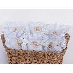 Kit de Lembranças para Bebê Marina 06 Peças com Bordado - Urso Branco