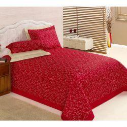 Cobre Leito Casal King Dior 03 Peças todo Bordado - Vermelho