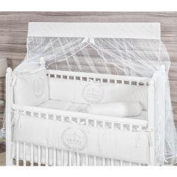 Kit Berço 09 Peças Americano com Mosquiteiro Coleção My Princess Branco 100% Algodão