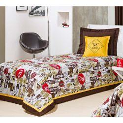Cobre Leito Solteiro Cairo 03 Peças Estampado Acompanha Almofada Bordada - Amarelo
