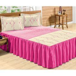 Cobre Leito Casal Erva Doce 03 Peças Bordado - Tecido Microfibra Peletizada - Pink