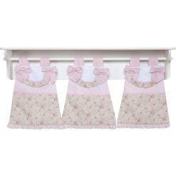 Porta Fraldas de Varão para Quarto Bebê Coleção Lacinhos Baby - Rosa
