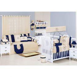 Coleção Completa para Quarto de Bebê My Prince Marinho 100% Algodão - 21 Peças