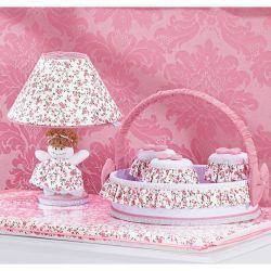 Kit Acessórios com Abajur, Cesta e Potes - Coleção Princesinha Baby Rosa