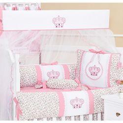 Kit Berço 09 Peças Coleção Princesinha Baby 100% Algodão Rosa