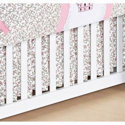 Saia Para Berço 03 Lados Coleção Princesinha Baby 100% Algodão Rosa