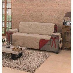 Protetor de Sofá Avulso Premium para 3 Lugares Dupla Face Tecido 100% Algodão (150 Fios) - Caqui/Vermelho