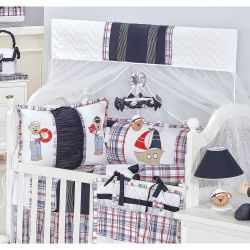 Kit Berço 9 Peças Americano c/ Mosquiteiro - Coleção Sailor - 100% Algodão