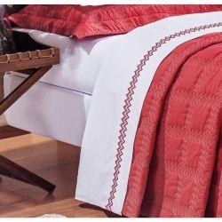 Jogo de Lençol Casal King Sharon 4 Peças 100% Algodão 200 Fios - Branco/Vermelho