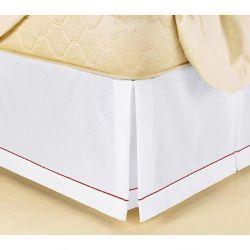 Saia Box para Cama Solteiro Padrão Soutache Tecido Misto - Branco/Vermelho
