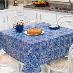 Toalha de Mesa Anti Térmica Retangular Estampada 1,50m x 1,40m - Azulejo